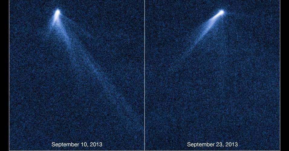 7.nov.2013- O telescópio Hubble da Nasa (Agência Espacial Norte-Americana) registrou a imagem deste asteroide que mais parece um cometa porque tem seis caudas