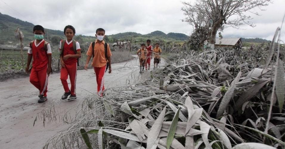 8.nov.2013 - Meninos de escola da Indonésia andam com máscaras perto de plantas cobertas pelas cinzas após a erupção do vulcão Sinabung, em Karo