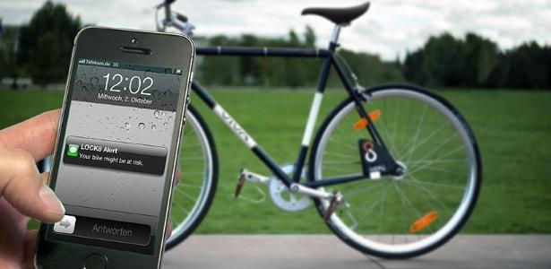 Trava tem sensores eletrônicos que identificam movimentos suspeitos na bicicleta