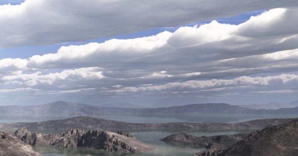 13.nov.2013- Nasa (Agência Espacial Norte-Americana) simula como seria Marte há 4 bilhões de anos: com abundância de água no formato líquido, um dos principais ingredientes para a formação de vida, e forte pressão atmosférica