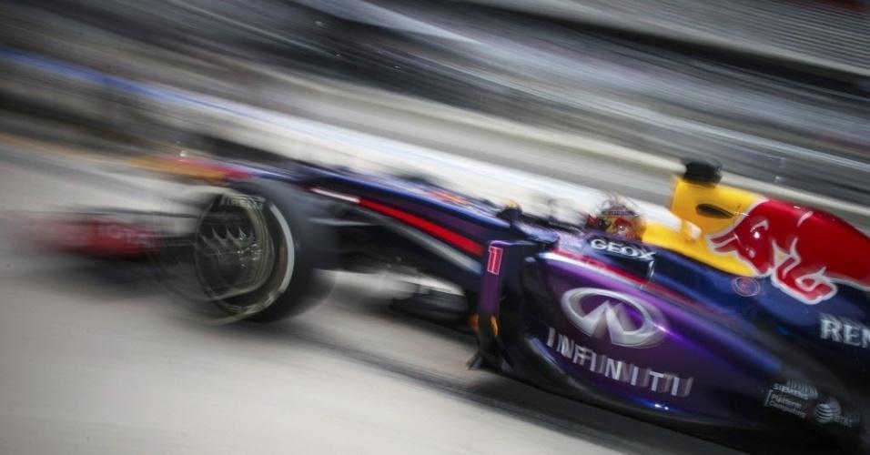 16.nov.2013- Pela oitava vez na temporada, o alemão Sebastian Vettel conseguiu a primeira colocação no grid de largada e é o favorito para a corrida do Grande Prêmio dos Estados Unidos de Fórmula 1