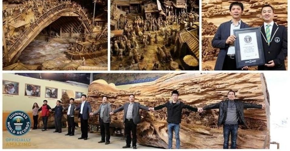 18.nov.2013 - A incrível escultura de madeira, feita pelo escultor chinês Zheng Chunhui, mede 12,3 metros e é a maior já feita segundo o Guinness Book. Foram necessários quatro anos para finalizá-la