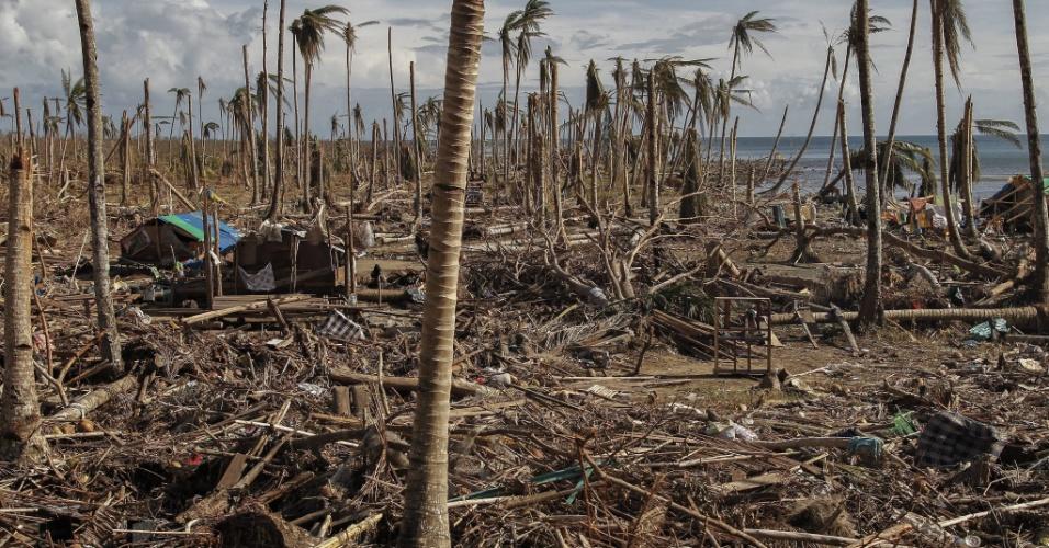19.nov.2013 - Bairro é visto completamente devastado após passagem do tufão Haiyán, em Samar, Filipinas