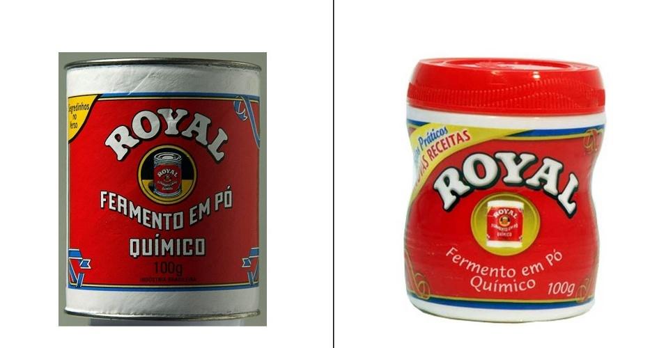Embalagens antiga e atual de fermento em pó Royal