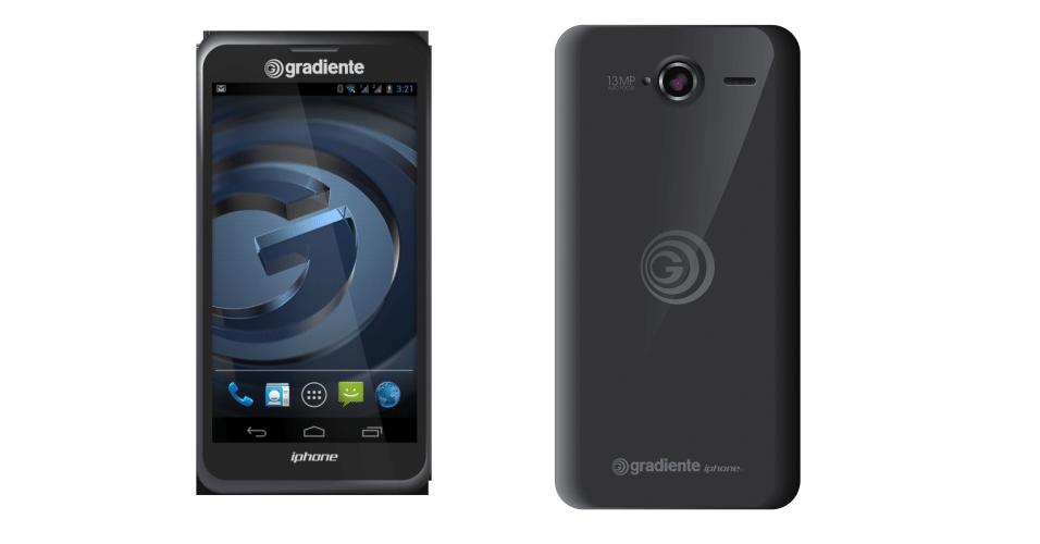 25.nov.2013 - A Gradiente colocou no mercado o smartphone chamado Iphone C-600. O aparelho possui tela de 5 polegadas, câmera traseira de 13 megapixels e frontal de 2 megapixels. O sistema operacional é o Android 4.2.2 e o produto ainda possui suporte para dois chips. O preço sugerido é R$ 1.500