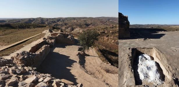 2.dez.2013 - Construções antigas nas ruínas de Shimao, na China. Arqueólogos acharam crânios de mais de 80 jovens mulheres que foram sacrificadas há mais de 4 mil anos. À direita, um túmulo protegido com gesso em uma vala comum