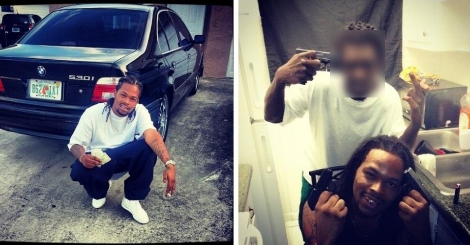 9.dez.2013 - Depree Johnson (embaixo) foi preso pela polícia de Palm Beach, Flórida, EUA, após postar fotos na rede social Instagram (na conta @duce22ceritfied, que já foi excluída) portando drogas e armas. Ele é suspeito de ter organizado uma série de assaltos na região. Na casa dele, a polícia encontrou diversos objetos valiosos, como jóias, relógios, diamantes e duas armas de fogo que haviam sido roubadas. Johnson vai responder na justiça por 142 acusações Reprodução/Gawker
