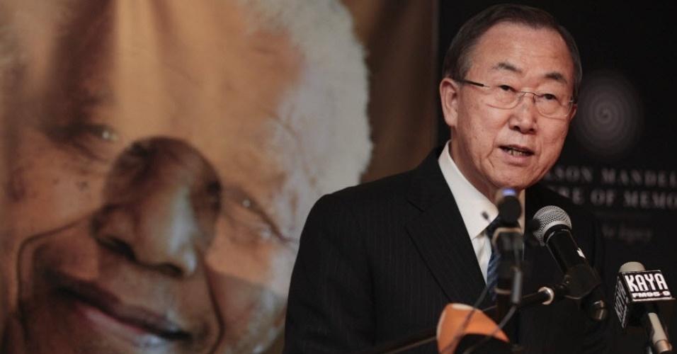 9.dez.2013 - Secretário-geral da ONU, Ban Ki-moon, discursa na Fundação Nelson Mandela, em Johanesburgo
