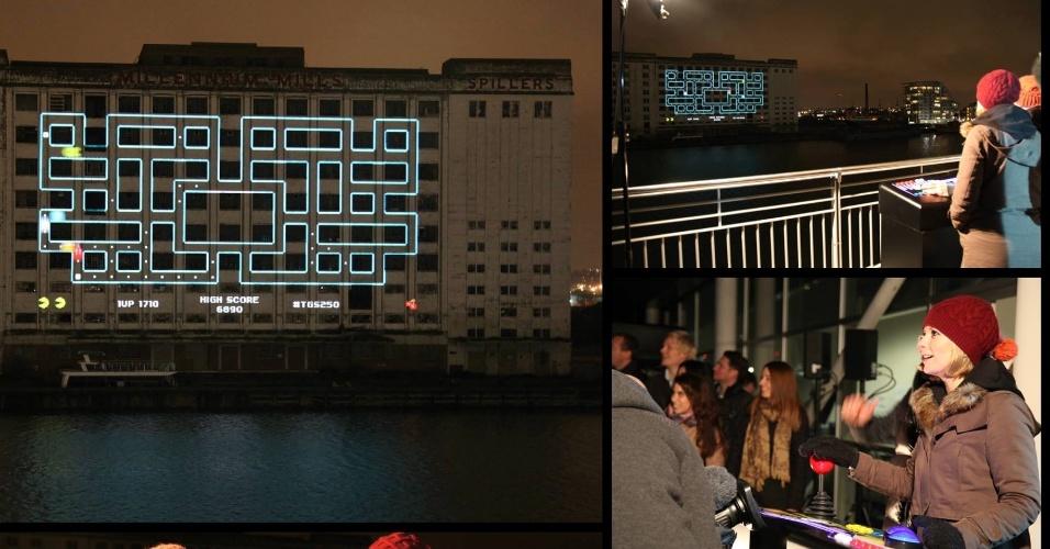 11.dez.2013 - The Gadget Show conseguiu quebrar o recorde de maior jogo de projeção mapeada arquitetônica no Excel London, Reino Unido, no mês passado. O Pacman da Namco e foi projetado no edifício Millennium Mills, em frente ao Excel, usando seis projetores
