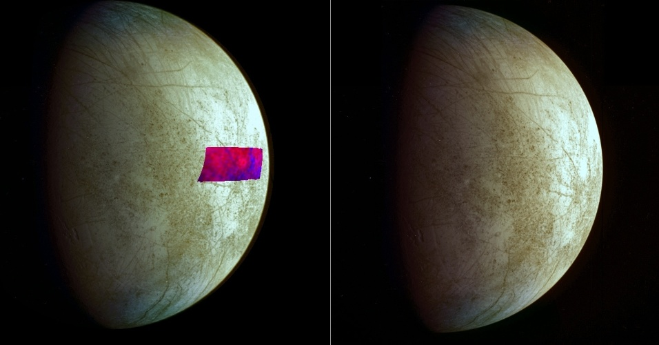 11.dez.2013 - Uma nova análise de dados de missão Galileo, da Nasa (Agência Espacial Norte-Americana) revelou um tipo de mineral do tipo da argila na superfície de Europa, lua gelada de Júpiter, que parece ter sido entregue por uma colisão espetacular com um asteroide ou cometa. Esta é a primeira vez que tais minerais foram detectados na superfície da Europa. Os tipos de rochas espaciais que fornecem tais minerais também costumam carregar materiais orgânicos. Europa é um dos astros em que cientistas buscam encontrar vida. O material aparece em azul na imagem com falsa cor, à esquerda
