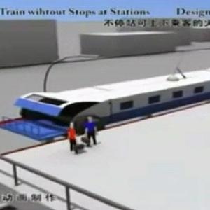 Trem chinês pega passageiros sem parar na estação