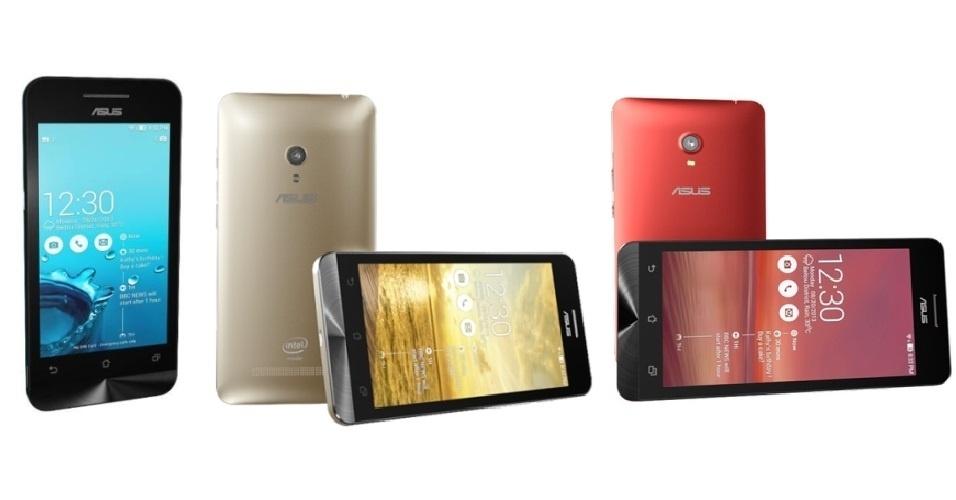 A Asus divulgou a linha de smartphones ZenFone, que chega com Android 4.3. O ZenFone 4 (esquerda) possui tela de 4 polegadas, processador dual-core 1.2Ghz e pesa 115g. O ZenFone 5 (centro) está equipado com tela de 5 polegadas, processador dual-core de 2 Ghz e câmera de 8 megapixels. Já o ZenFone 6 (direita) tem tela de 6 polegadas em HD, câmera de 13 megapixels e processador dual-core de 2 Ghz. Não há informações de preços ou data de lançamento.