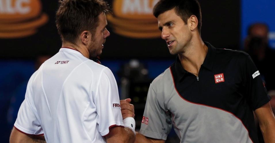21.jan.2014 - Após quatro horas de jogo, o número 8 do mundo, Stanislas Wawrinka, venceu por 3 sets a 2, com parciais de 2-6, 6-4, 6-2, 3-6 e 9-7, o número 2, Novak Djokovic, e está classificado para as semifinais do Aberto da Austrália