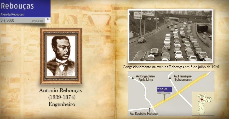 O baiano Antonio Rebouças dá nome à importante avenida da zona oeste de São Paulo, segundo o Dicionário de Ruas da prefeitura. O engenheiro Rebouças viveu entre 1839 e 1874 e foi responsável pelos projetos da Estrada de ferro de Campinas a Limeira e Rio Claro, da Estrada de Ferro Curitiba a Paranaguá, e da rodovia Antonina - Curitiba, conhecida como estrada da Graciosa. Antonio era Irmão de André Rebouças, que ficou conhecido pela campanha abolicionista, quando se aliou a Joaquim Nabuco e José do Patrocínio na luta contra a escravidão. Na foto, um congestionamento na avenida Rebouças em 3 de julho de 1976