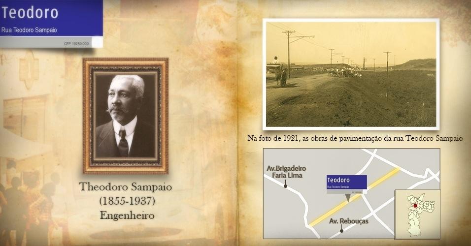O engenheiro Theodoro Sampaio é homenageado com o nome dessa importante rua de Pinheiros (zona oeste da capital). Na foto, as obras de pavimentação da rua Teodoro Sampaio