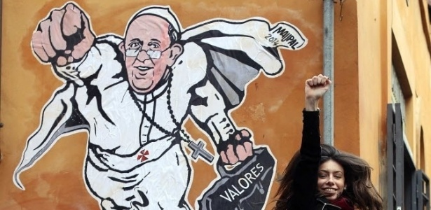 Papa Francisco foi retratado como super-herói pelo artista Mauro Pallotta