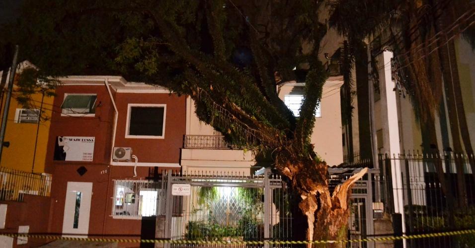 14.fev.2014 - Árvore quebra telhado de casa no bairro da Vila Mariana, zona sul de São Paulo, após desabar, na madrugada desta sexta-feira (14), em decorrência do forte temporal que atingiu a capital na noite desta quinta-feira (13)