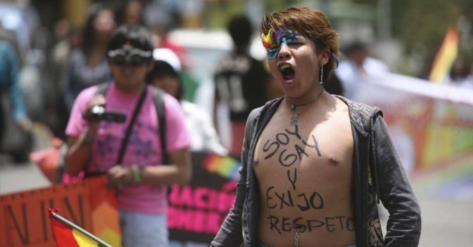 14.fev.2014 - Manifestante participa de desfile em apoio aos direitos dos homossexuais, à legalização do casamento gay e contra a homofobia em La Paz