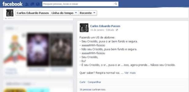 Reprodução de página do Facebook do médico Carlos Eduardo Passos ironizando pacientes