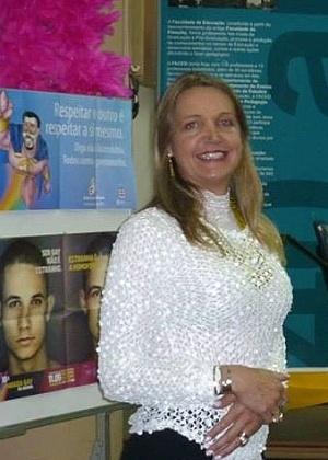 A professora transexual Marina Reidel em sua defesa de mestrado na UFRGS