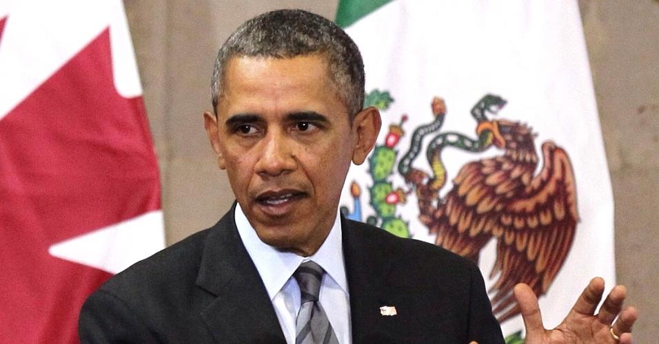 19.fev.2014 - O presidente dos EUA, Barack Obama, discursa durante conferência com os líderes dos países membros da Nafta (Tratado de livre comércio da América do Norte) - Canadá, EUA e México. Obama, o mexicano Enrique Peña Nieto, e o canadense Stephen Harper se reúnem em Toluca, no México