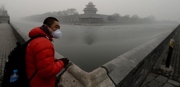Turista usa máscara contra poluição em área histórica de Pequim, na China