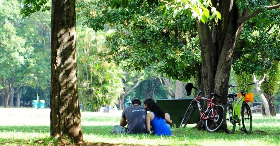 27.fev.2014 - Casal aproveita tarde de sol e calor no parque Ibirapuera, na zona sul da capital paulista, nesta quinta-feira (27)