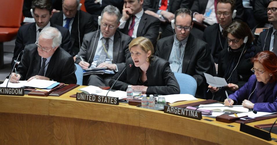 1º.mar.2014 - O Conselho de Segurança da ONU (Organização das Nações Unidas) manteve tensa reunião sobre a crise ucraniana, na qual Rússia, Estados Unidos e Reino Unido trocaram acusações e não alcançaram nenhum ponto de consenso. Na foto, a embaixadora norte-americana, Samantha Power, discursa