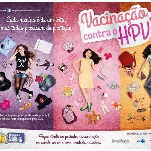 Cartaz da campanha brasileira de vacinação contra o HPV, que começou a ser veiculada no dia 8 de março