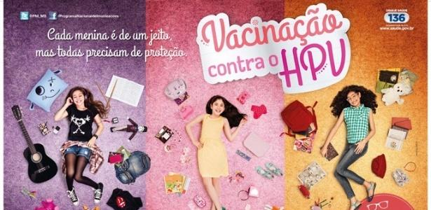 Cartaz da campanha nacional de vacinação contra o HPV, que começou a ser veiculada no dia 8