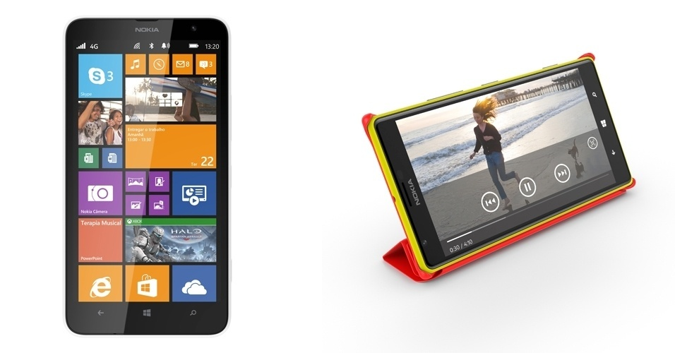 11.mar.2014 - A Nokia anunciou que começa a vender os modelos Lumia 1320 (esq.) e 1520 no Brasil nos próximos dias por R$ 1.399 e R$ 2.599, respectivamente. O Lumia 1320 o tem câmera de 5 megapixels, memória interna de 8GB com suporte para cartão de memória até 64GB e processador dual-core Qualcomm Snapdragon de 1.7 GHz. Já o 1520 tem câmera de 20 megapixels com tecnologia PureView, processador quad-core Qualcomm Snapdragon de 2.2GHz e memória interna de 32GB com suporte para cartão de memória até 64GB