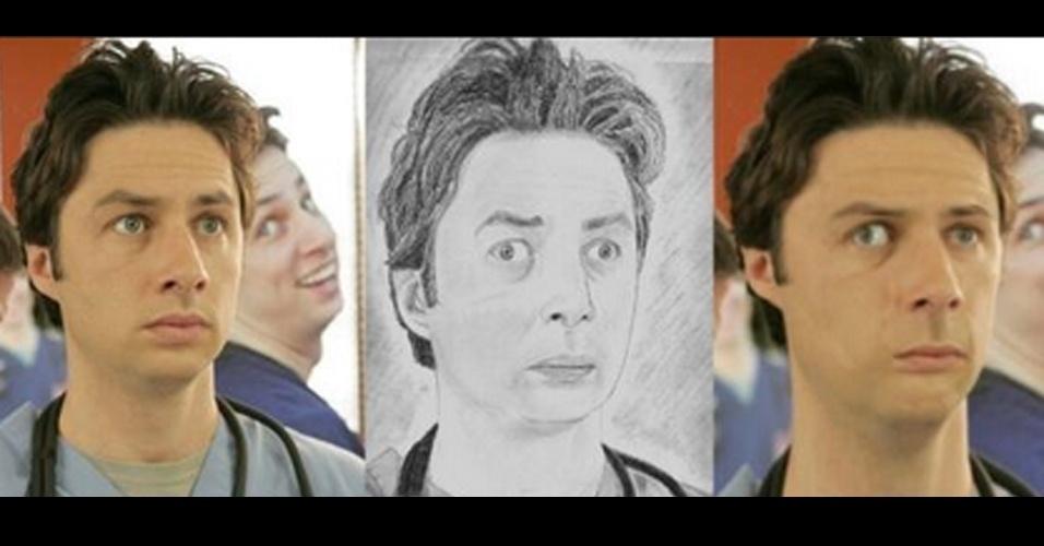 O usuário do Twitter @JamieDMJ usou o Photoshop para deixar celebridades parecidas com o desenho de seus fãs. O critério de seleção, segundo ele, foram as ''piores obras de arte criadas por fãs''. Acima, o ator Brad Pitt