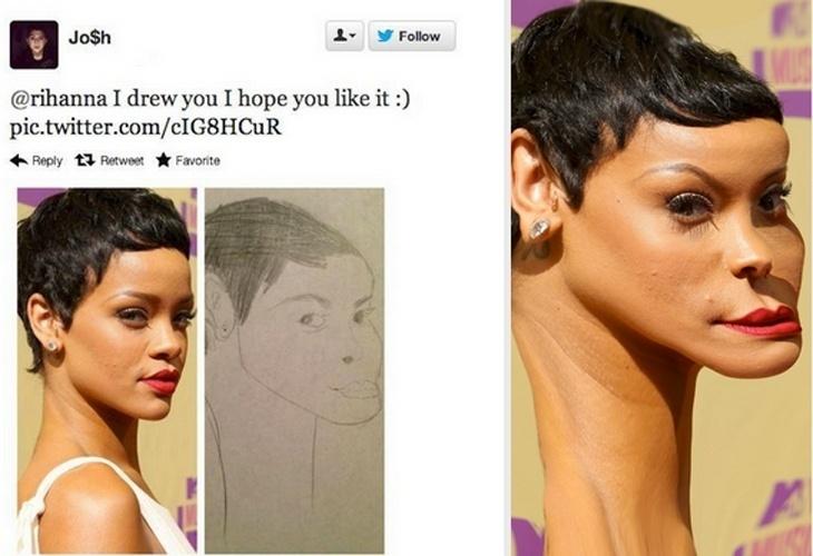 Um fã de Rihanna desenhou a cantora (centro) e publicou sua obra no Twitter com a frase: ?Espero que goste?. A imagem à direita, que circula na internet sem identificação do criador, mostra como Rihanna ficaria se fosse parecida com o desenho