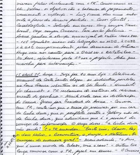 """20.mar.2014 - Em conversa registrada entre o presidente Ernesto Geisel e o seu chefe de gabinete Hugo Abreu, o mandatário defende a existência de uma """"linha dura"""" dentre os militares e aponta os nomes de alguns deles (Sebastião Chaves, Ruy Castro, Helio Lemos, Hélio Mendes, Luis de Alencar Araripe, Francisco Boaventura e Natalino de Brito), chamando-os de """"zurrapas"""". O documento faz parte do acervo """"Arquivos da Ditadura"""", que concentra esse e outros documentos do período da ditadura militar reunidos pelo jornalista Elio Gaspari"""
