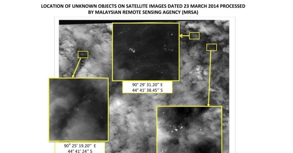 26.mar.2014 - Novas imagens de satélite revelam a presença de 122 objetos flutuando em uma zona de 400 quilômetros quadrados em uma das áreas de busca do sul do oceano Índico, onde o voo MH370 pode ter caído