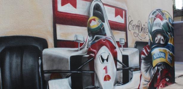 Grafite em homenagem ao piloto Ayrton Senna, de autoria do artista Carão: alvo de disputa com a prefeitura de Londrina por causa da Lei cidade Limpa