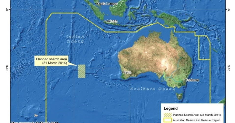 31.mar.2014 - Mapa divulgado pela Autoridade de Segurança Marítima da Austrália mostra a área de busca do voo MH370 no oceano Índico. Dez aviões da Austrália, Malásia, Japão, China, Coreia do Sul, Nova Zelândia e Estados Unidos e dez navios participam das buscas da aeronave