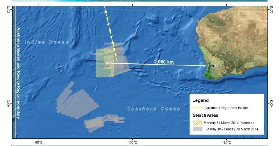 31.mar.2014 - Mapa divulgado pela Autoridade de Segurança Marítima da Austrália mostra área de busca do voo MH370 e áreas que já foram revistadas, no oceano Índico. Dez aviões da Austrália, Malásia, Japão, China, Coreia do Sul, Nova Zelândia e Estados Unidos e dez navios participam das buscas da aeronave