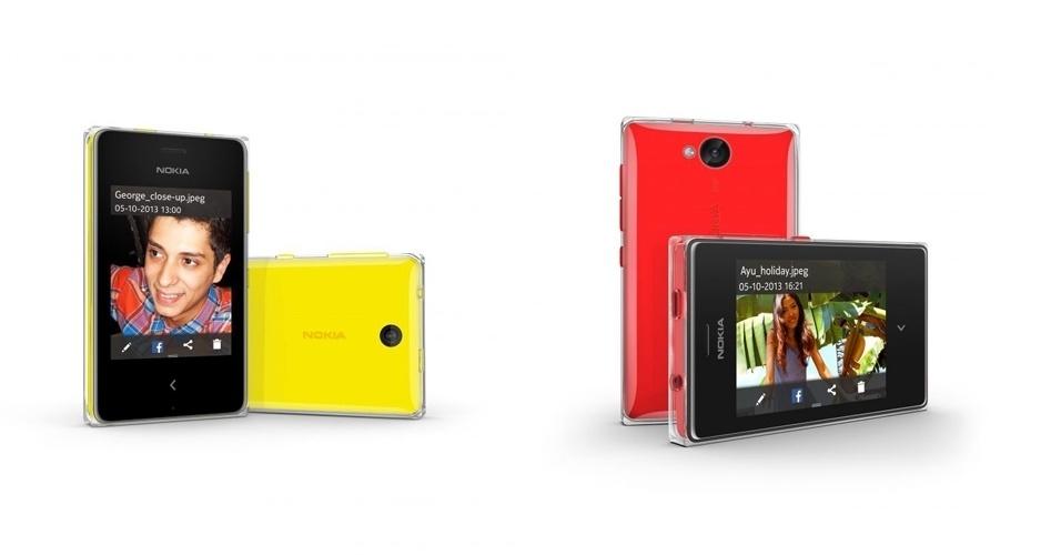 1°.abr.2014 - A Nokia lançou dois modelos de smartphones ''baratos'' no Brasil. O Asha 500 (esq.) é vendido por R$ 299. Já o Nokia Asha 503 está disponível por R$ 319. Ambos podem ser usados para acessar o aplicativos como WhatsApp, Facebook, Twitter, Foursquare, WeChat, Line e Placar Uol. O Asha 500 vem com tela touch de 2.8 polegadas, câmera de 2 megapixels e conectividade 2G e Wi-Fi. O Asha 503 tem tela de 3 polegadas ultrarresistente, câmera de 5 megapixels e conectividade 3,5G e Wi-Fi