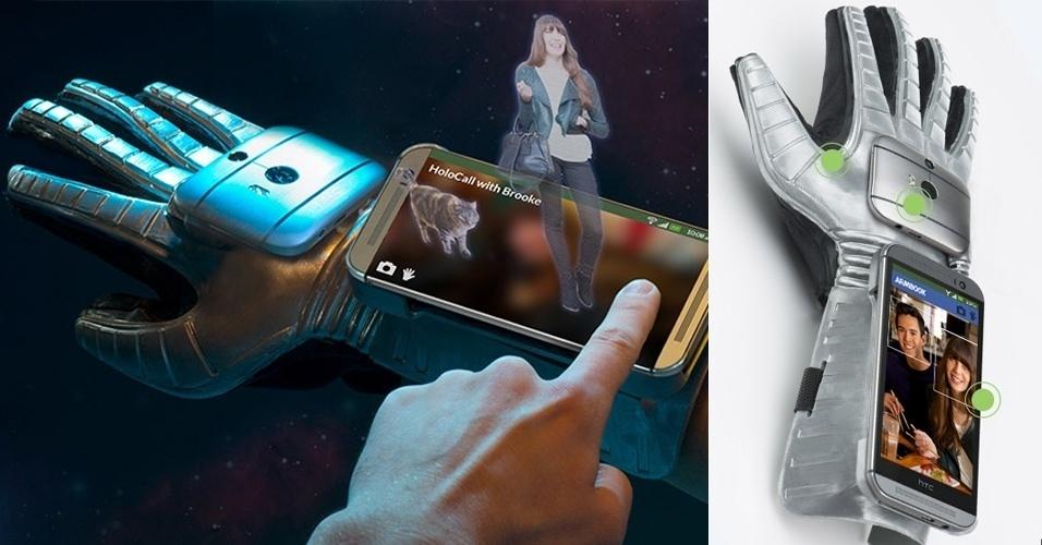 2014 - A HTC entrou na brincadeira com a luva Gluuv, que permite usar o telefone celular sem ter de segurá-lo com uma das mãos. O acessório conta ainda com uma câmera de 87,2 pixels para o usuário tirar selfies (autorretratos) e permite integração com redes sociais (curtiu? Basta levantar o dedo, que o gesto vai para o Facebook)