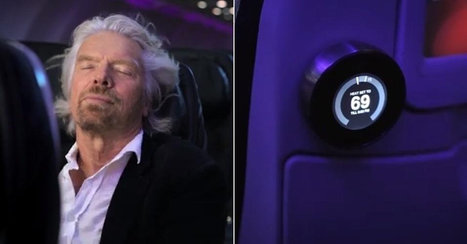 2014 - Richard Branson (esq), dono da companhia aérea Virgin, anunciou em vídeo no YouTube (http://zip.net/bwmYGn) uma tecnologia que permite a qualquer passageiro controlar a temperatura na região de seu assento. Dá para escolher calor tropical, por exemplo, ou o vento frio de Washington - depende do gosto do freguês