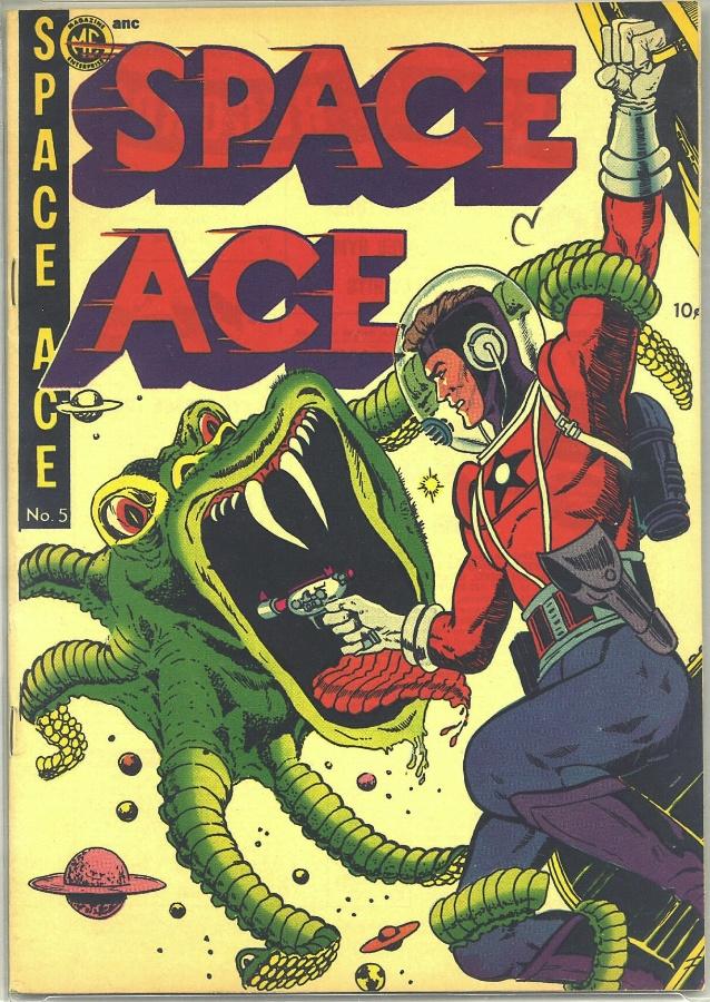 """11.abr.2014 - Na HQ """"Space Ace""""de 1951, o herói se deparou ao chegar no espaço com monstros verdes e de dentes bem afiados"""