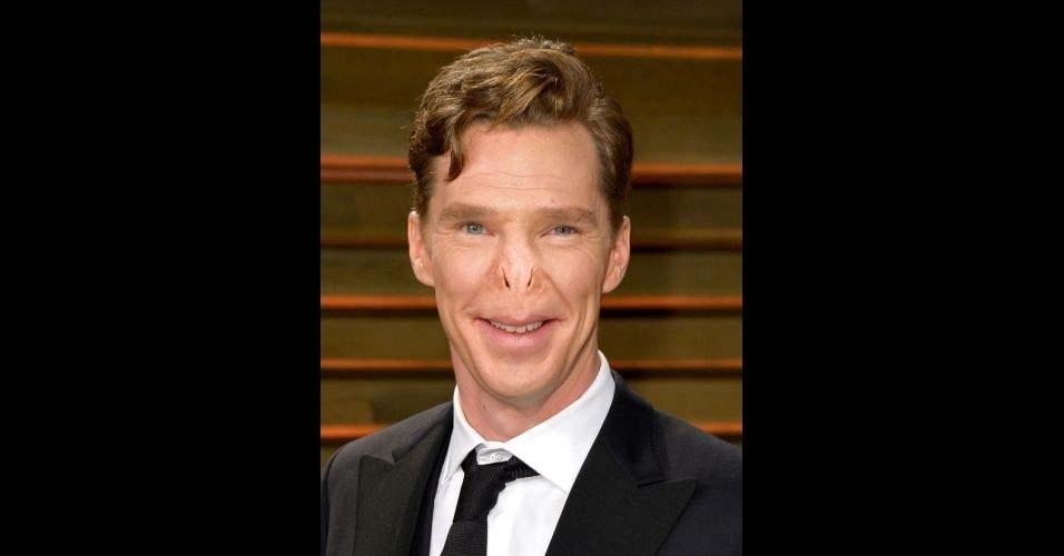 Na imagem, o ator Benedict Cumberbatch. O site Buzzfeed pegou o nariz do vilão Voldemort, da franquia 'Harry Potter', e colocou em diversas celebridades, usando o Photoshop