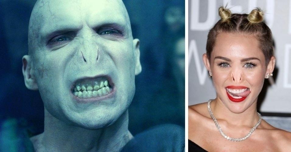 O site Buzzfeed pegou o nariz do vilão Voldemort (esquerda), da franquia 'Harry Potter', e colocou em diversas celebridades, usando o Photoshop. Na imagem, à direita, a cantora Miley Cyrus