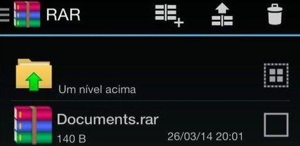 Com layout simples, o RAR para Android extrai um ou mais arquivos (recebidos por e-mail, por exemplo)