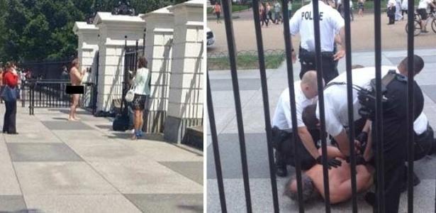 Homem tira a roupa em frente a Casa Branca e é detido