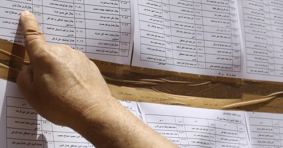 26.mai.2014 - Homem checa seu nome em lista antes de votar durante eleições presidenciais do Egito. As eleições no Egito ocorrem quase um ano depois de os militares derrubarem do poder Mohamed Morsi, líder da Irmandade Muçulmana e primeiro presidente democraticamente eleito no país. Favorito no atual pleito presidencial, Abdel Fatah al-Sisi, ex-chefe do Exército, foi quem anunciou, no dia 3 de julho de 2013, a deposição de Morsi, eleito em junho de 2012
