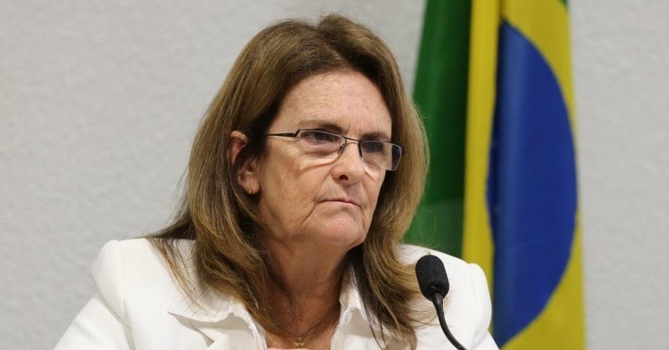 27.mai.2014 - A presidente da Petrobras, Graça Foster, depôs nesta terça-feira na CPI instalada no Senado para investigar a empresa. No depoimento, ela comentou a compra de refinaria de Pasadena, nos Estados Unidos