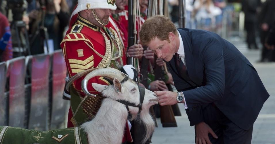 10.jun.2014 - O príncipe Harry conhece o mascote do batalhão real, Shekin, na 50ª comemoração do filme