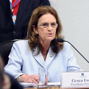 A presidente da Petrobras, Graça Foster, ao depor na CPI em junho